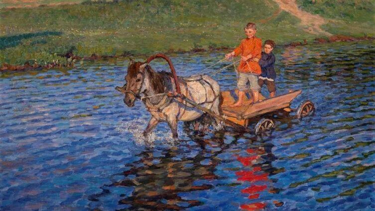 Н. П. Богданов-Бельский, «Пересечение реки»