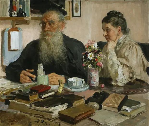 И. Е. Репин, «Л. Н. Толстой с женой С. А. Толстой», 1907 г.