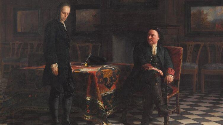 Н. Н. Ге, «Пётр I допрашивает царевича Алексея в Петергофе», 1871 г.