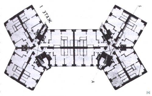«Проект дома для рабочих». Москва, ул. Стромынка. Архитектор Николай Ладовский. 1924 г. План 1-го этажа с квартирами