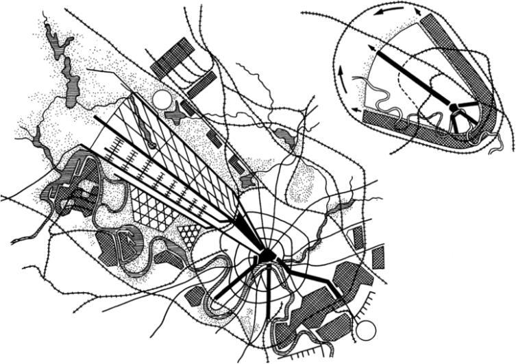 Город-«парабола» Николая Ладовского. Конкурсный проект развития Москвы,  1930 г.