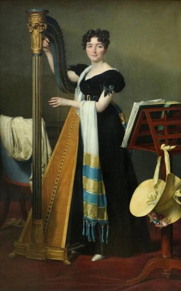 Жак-Луи Давид, «Портрет Джульетты де Вильнёв с арфой», 1824 г.