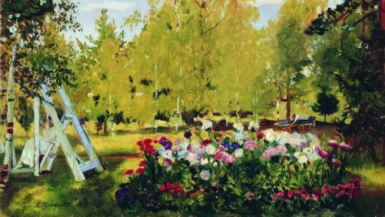 Б. М. Кустодиев, «Пейзаж с цветочной клумбой», 1917 г.