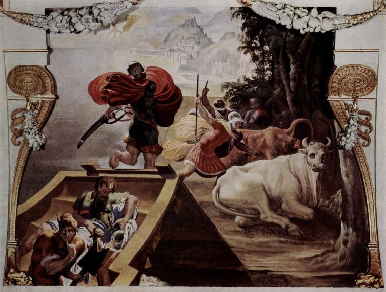 Спутники Одиссея похищают быков Гелиоса. Фреска Пеллегрино Тибальди, 1554/56 гг.