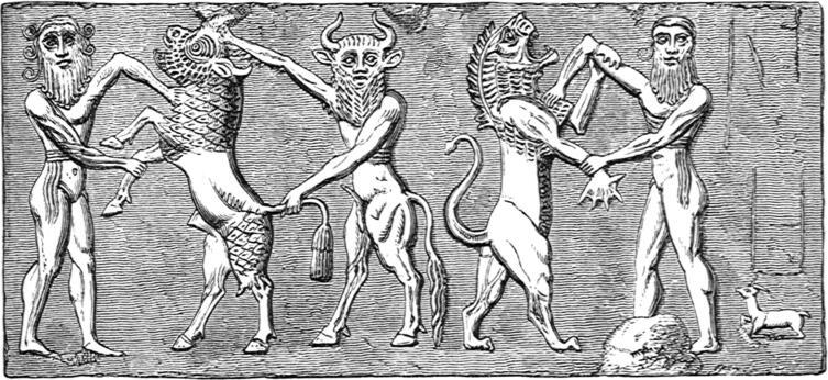 Подвиги Гильгамеша. Оттиск цилиндрической печати шумерского до письменного периода