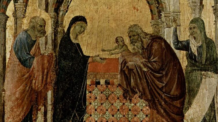 Дуччо ди Буонинсенья, «Сретение» фрагмент «La Maestà del Duomo di Siena», 1308—1311 гг.