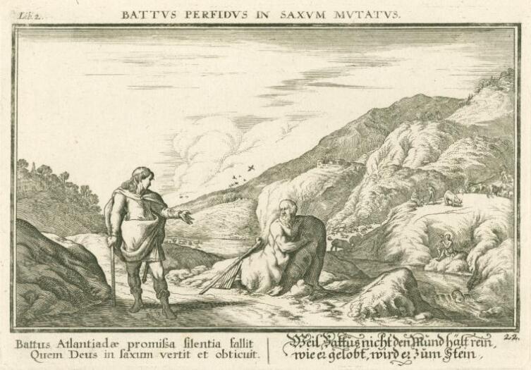 Иоганн Вильгельм Бауэр, «Гермес превращает Батта в камень», 1685 г.
