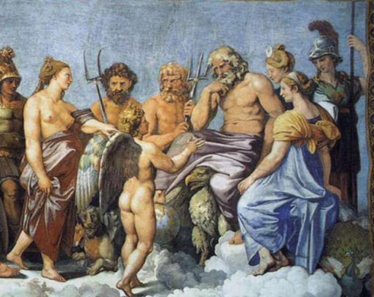 Рафаэль Санти, «Совет богов» фрагмент (Юпитер, Посейдон (с трезубцем), Гефест (с вилами), Афина-Паллада, Амур, Афродита, Гера, Гестия), 1518 г.