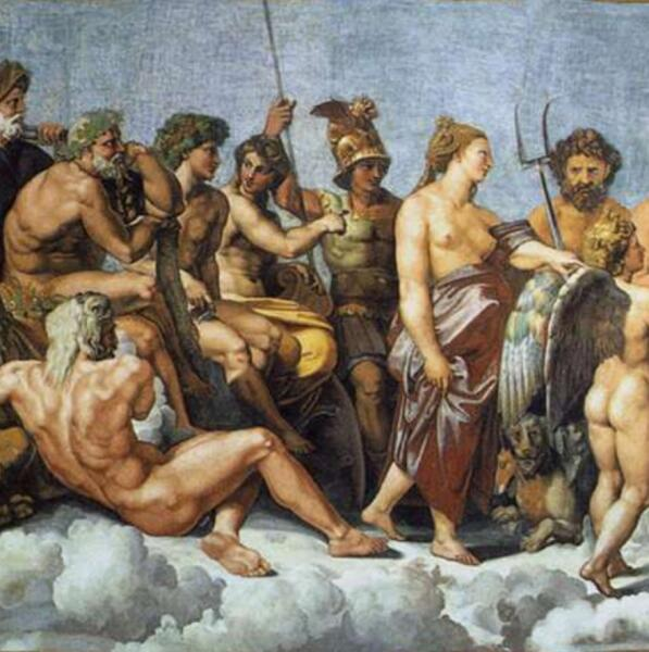 Рафаэль Санти, «Совет богов» фрагмент (Марс, Плутон, Аполлон, Артемида, Гестия, Гефест), 1518 г.