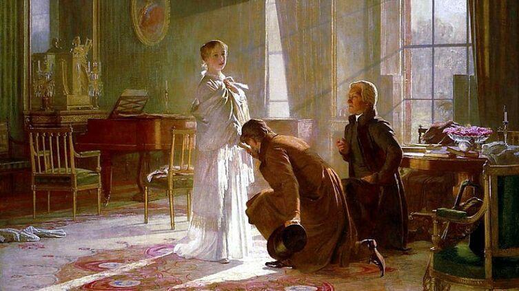 <br /> Виктория получает весть о том, что стала королевой, от лорда Конингема (слева) и архиепископа Кентерберийского