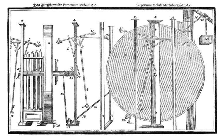 Чертеж общего вида вечного двигателя Орфиреуса