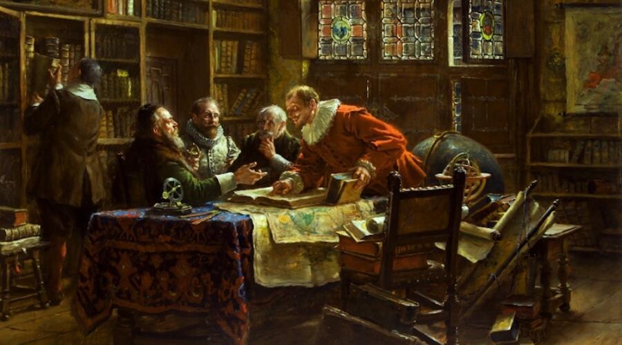 М. Гейссер., «Спор ученых», Сцена из жизни XVII в.