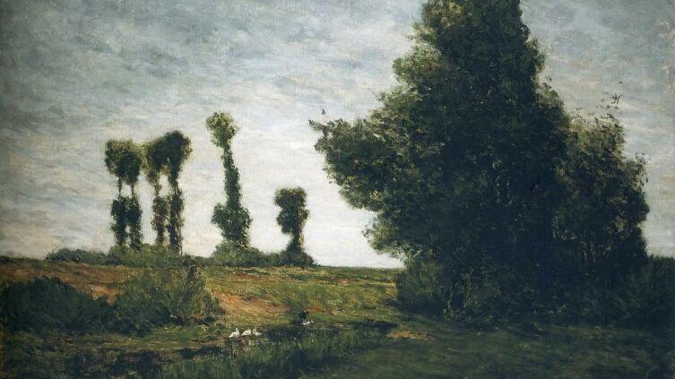 Поль Гоген, «Пейзаж с тополями» (фрагмент), 1875 г.