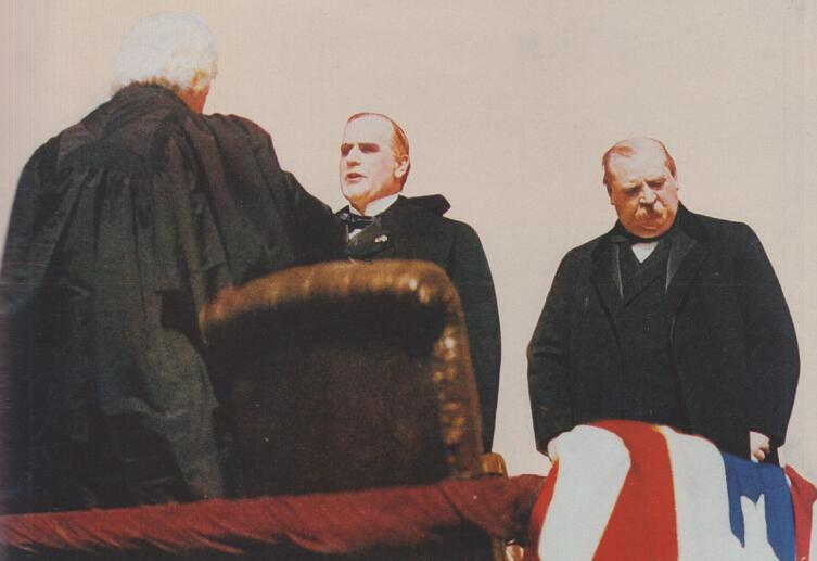 Первая инаугурация Уильяма Мак-Кинли.Справа 24-й президент Гровер Кливленд. 1897 г.