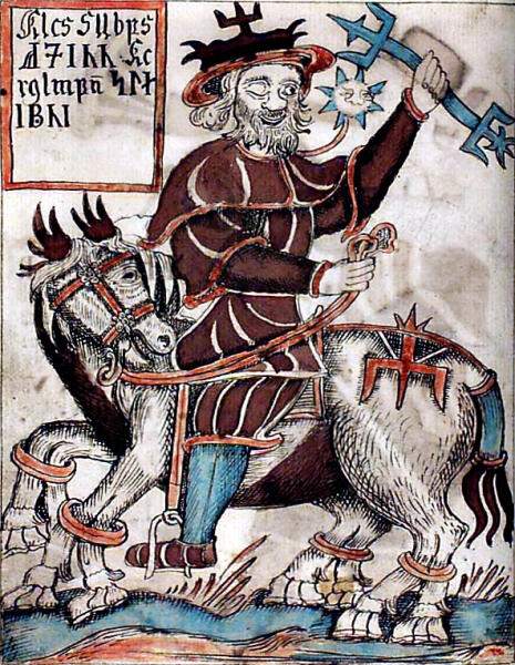 Один на Слейпнире, иллюстрация из исландского манускрипта XVIII века