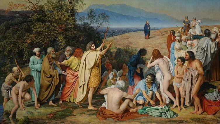 «Явление Христа народу», картина А. А. Иванова: Иоанн Креститель стоит на берегу Иордана, проповедуя народу о грядущем Мессии, в то время как вдали на пригорке появляется Христос