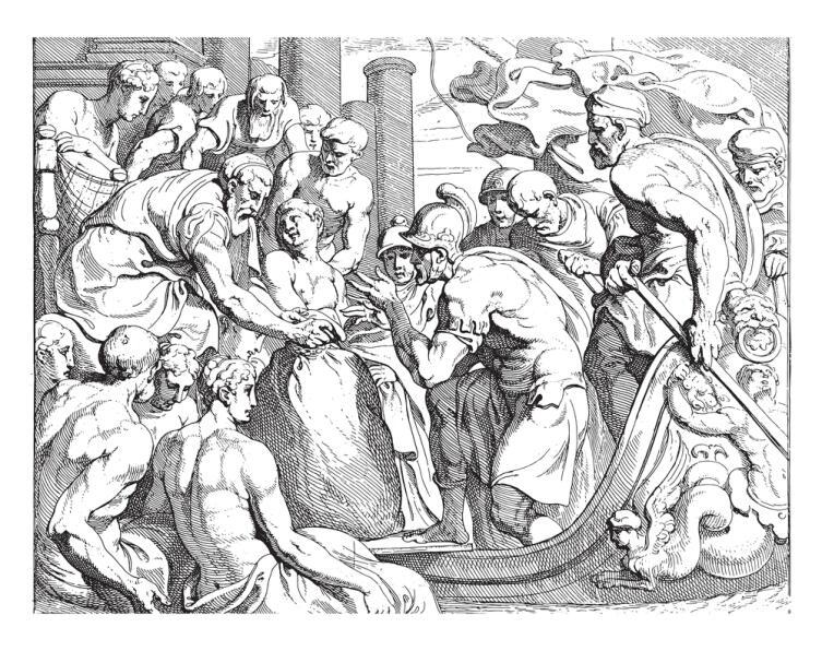 Одиссей получает мешок встречного ветра от Эола, Одиссей, со шлемом на голове, получает мешок встречных ветров от Эола, винтажная гравировка