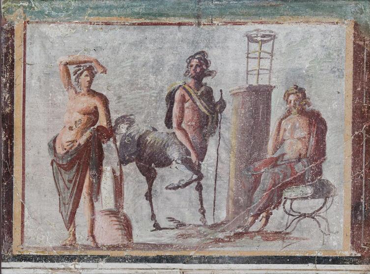 Аполлон, Хирон и Асклепий. Фреска из Помпей. Национальный археологический музей Неаполя