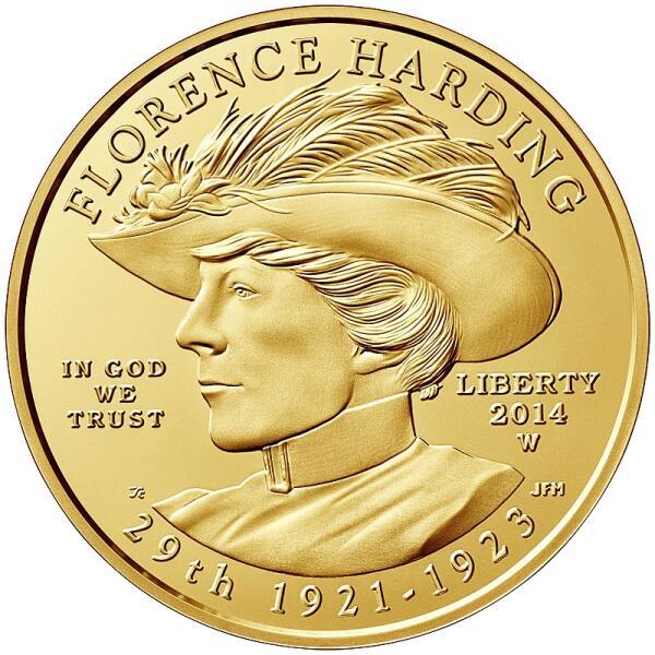 Золотая монета в 10 долларов. Флоренс Хардинг неустанно продвигала супруга Уоррена в его карьере