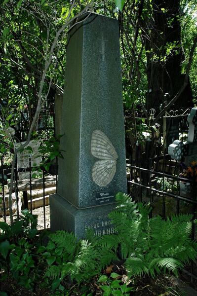 амятник на могиле Б. Н. Шванвича на Большеохтинском кладбище в Санкт-Петербурге с изображением плана строения рисунка крыльев бабочек, согласно его теориям