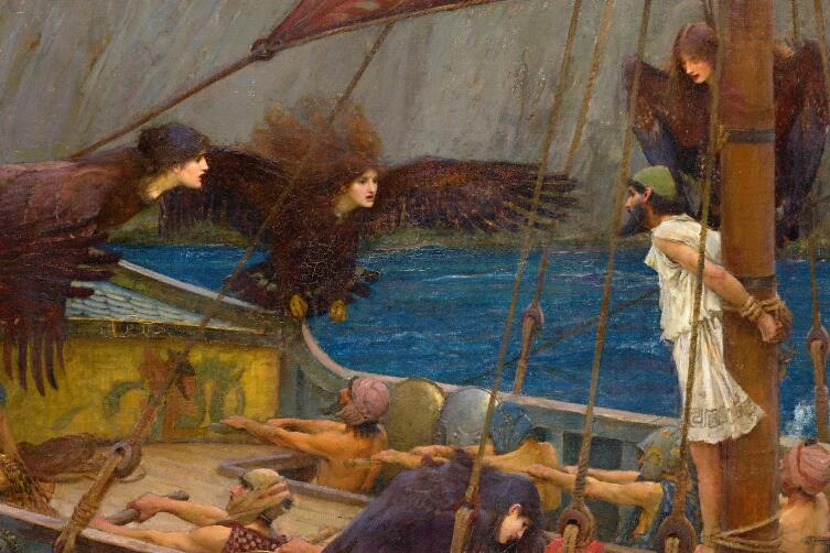Джон Уильям Уотерхаус, «Одиссей и Сирены», фрагмент «Сирены поют Одиссею», 1891 г.
