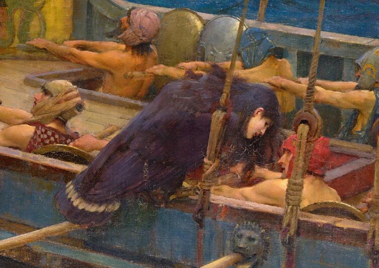 Джон Уильям Уотерхаус, «Одиссей и Сирены», фрагмент «Сирена поет гребцу», 1891 г.