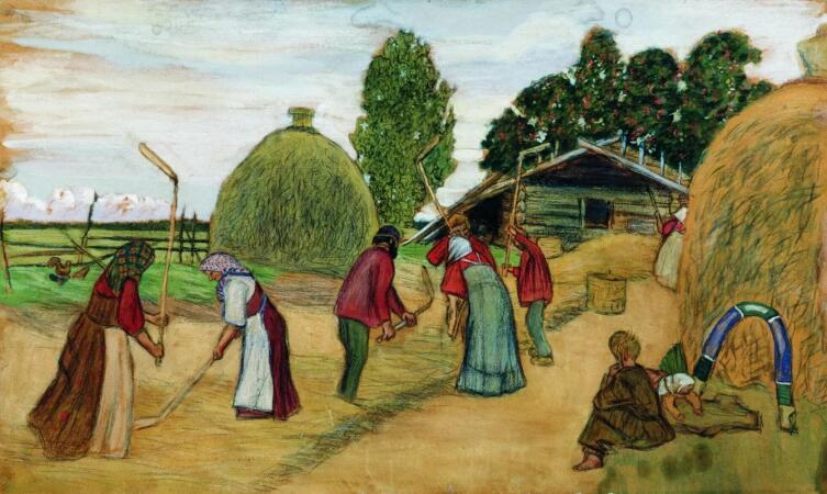 Б. М. Кустодиев, «Молотьба», 1908 г.
