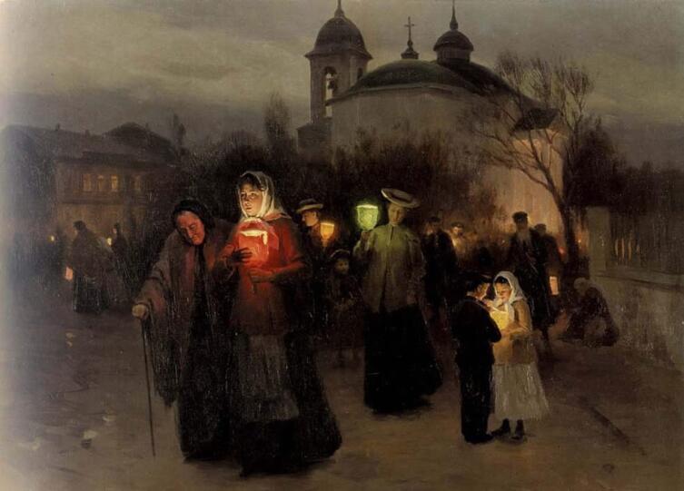 Н. К. Пимоненко, «Выход из церкви в Страстной четверг»