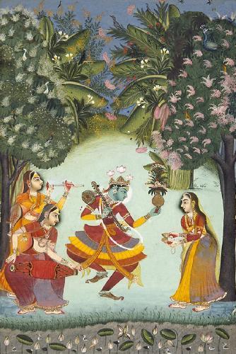 Рагини (исполнители раг - женщины). Индийская миниатюра