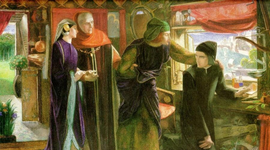 Данте Габриэль Россетти, «Данте в первую годовщину смерти Беатриче (Данте рисует ангела)», 1853 г.