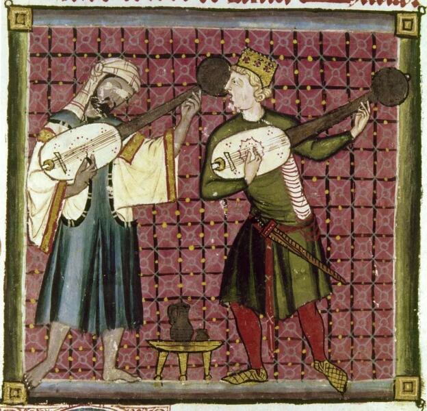 Состязание мусульманского и христианского музыкантов. Миниатюра из сборника кантиг короля Альфонса X. XIII век