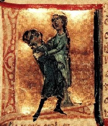 Жофре Рюдель умирает на руках Годьерны Триполитанской. Итальянская миниатюра, 13 век