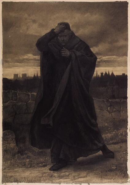 Гюстав Брион, «Клод Фролло», иллюстрация к «Собор Парижской Богоматери» Гюго, 1877 г.