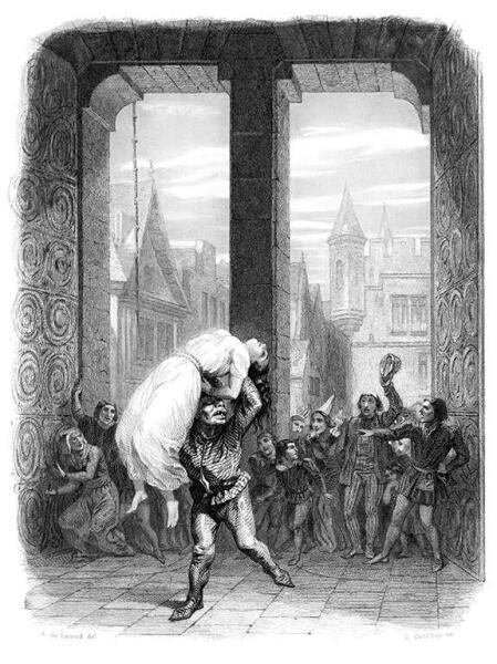 Эме де Лемуд, «Квазимодо спасает Эсмеральду», иллюстрация к «Собор Парижской Богоматери» Гюго, 1844 г.