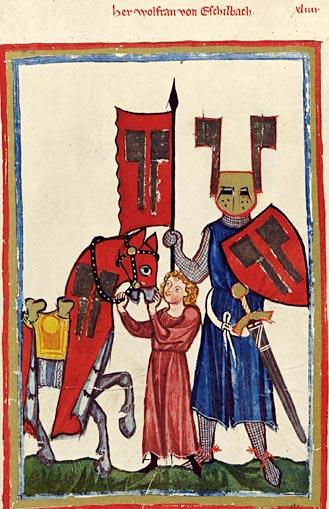 Эпический поэт немецкого средневековья Вольфрам фон Эшенбах (Манесский кодекс, XIV век)