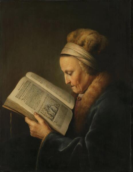 Геррит (Герард) Доу, «Старая женщина за книгой (Мать Рембрандта)», 1632 г.