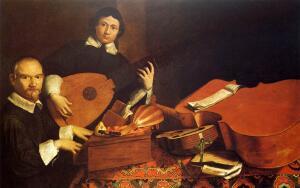 Натюрморт с музыкальными инструментами и маленькой статуэткой, (Э. Баскенис, 1645 год)