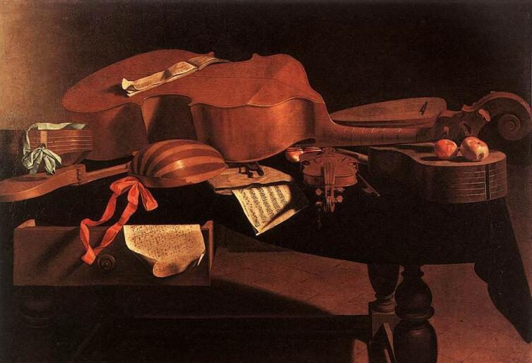 Картина Эваристо Башениса, ок. 1650 г. Музыкальные инструменты: харди-гарди, виола, лютня, барочные скрипка и гитара