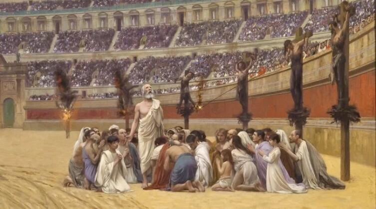 Жан-Леон Жером, «Последняя молитва христианских мучеников» (фрагмент), 1883 г.