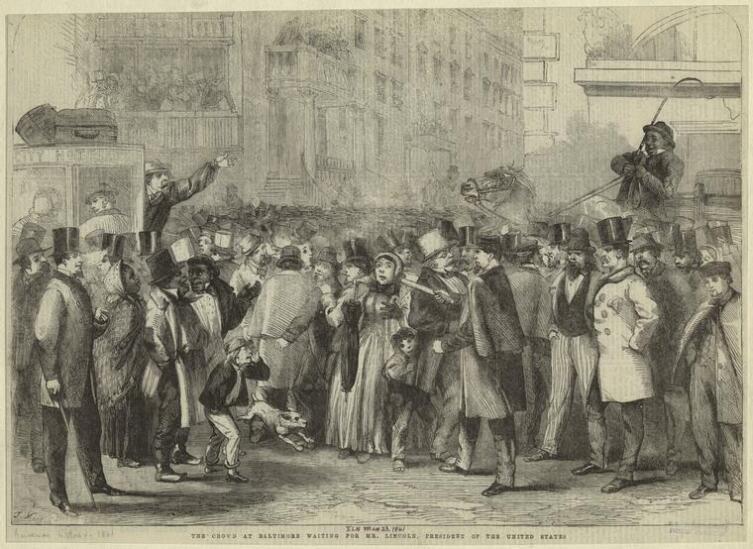 Карикатура Томаса Наста на толпу, ожидающую прибытия Линкольна в Балтимор, 23 февраля 1861 г