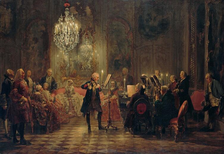 Адольф фон Менцель, «Концерт для флейты Фридриха Великого в Сан-Суси», 1852 г.