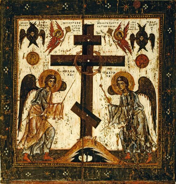 Прославление креста (оборот иконы Спас Нерукотворный, XII век)