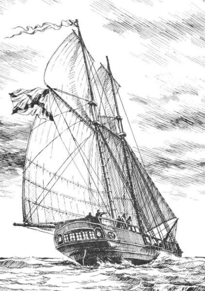 Шхуна «Новая Земля». Изображение из книги А. А. Чернышёва «Российский парусный флот»
