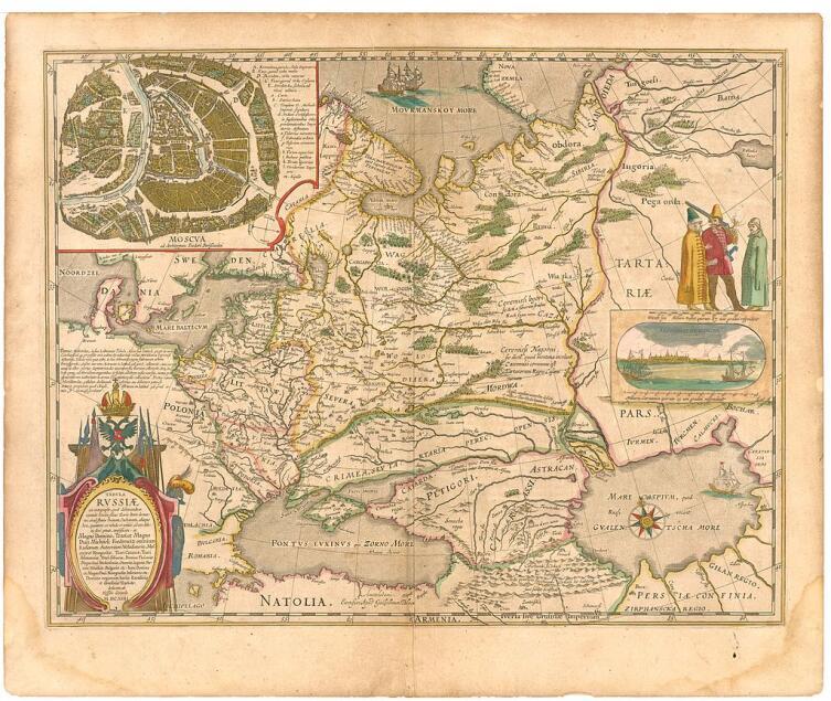 «Мурманское море» и Новая Земля на карте России из атласа Блау, 1645 г.