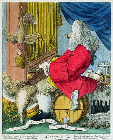 Жозеф Гупи, «Карикатура на Генделя», 1754 г.
