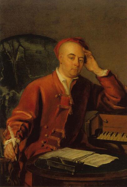 Филиппа Мерсье, «Портрет Георга Фридриха Генделя, сочиняющего музыку рядом с ручным клавесином», ок. 1730 г.