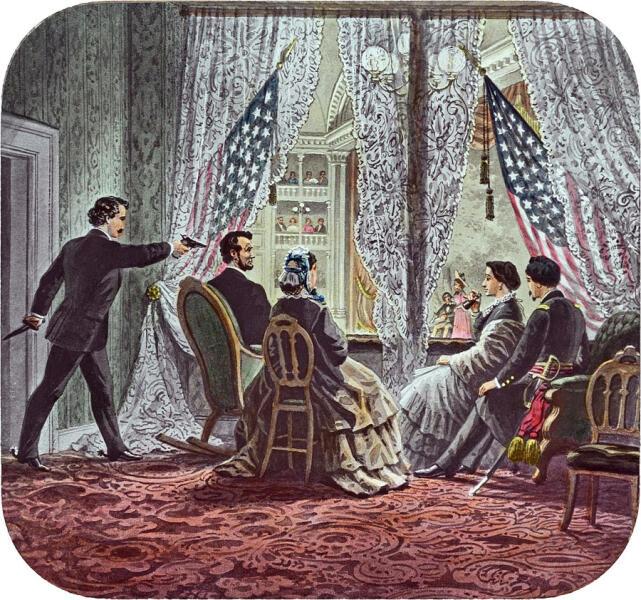 В президентской кабинке театра Форда слева направо изображены убийца Джон Уилкс Бут, Авраам Линкольн, Мэри Тодд Линкольн, Клара Харрис и Генри Рэтбоун