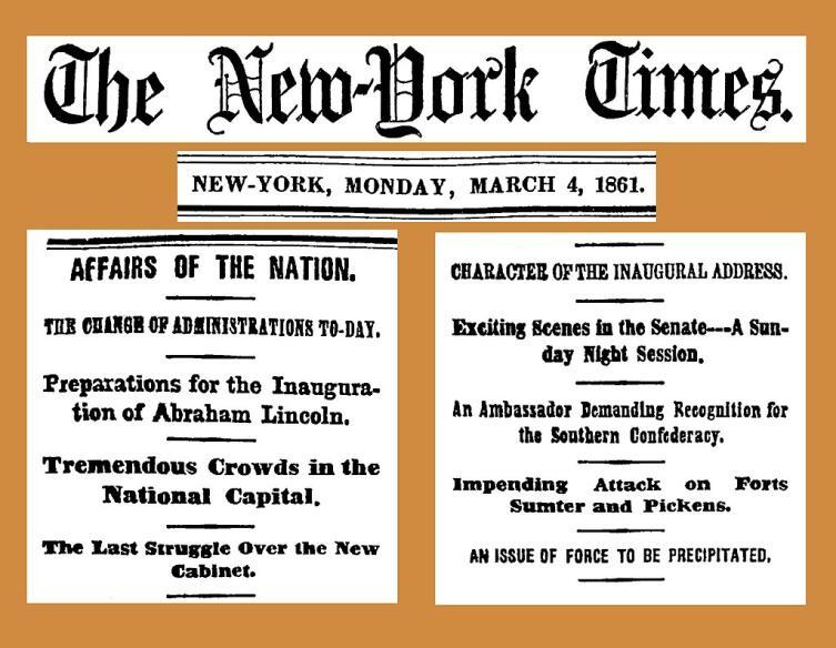 Заголовки новостей в день инаугурации Линкольна