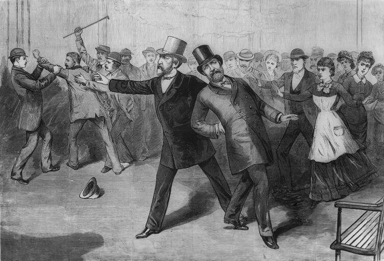 «Покушение на президента Гарфильда». Графическая иллюстрация из газеты Фрэнка Лешера