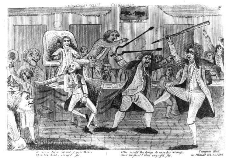 Рисунок , изображающий драку между конгрессменами Мэтью Лайоном и Роджером Грисволдом, которая произошла на одном из слушаний по импичменту Блаунта в январе 1798 г.